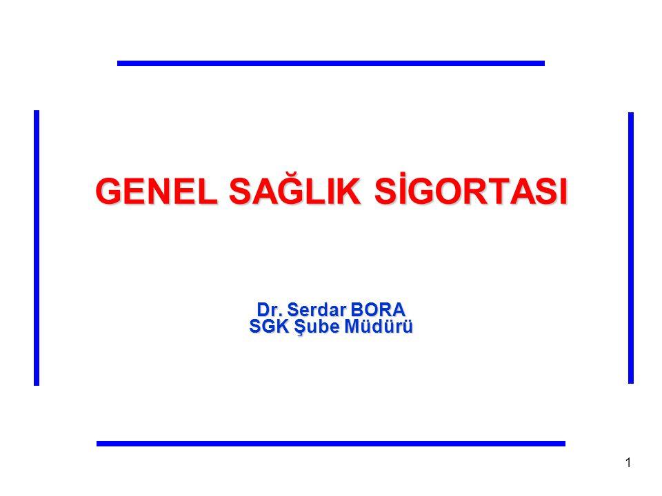 GENEL SAĞLIK SİGORTASI Dr. Serdar BORA SGK Şube Müdürü