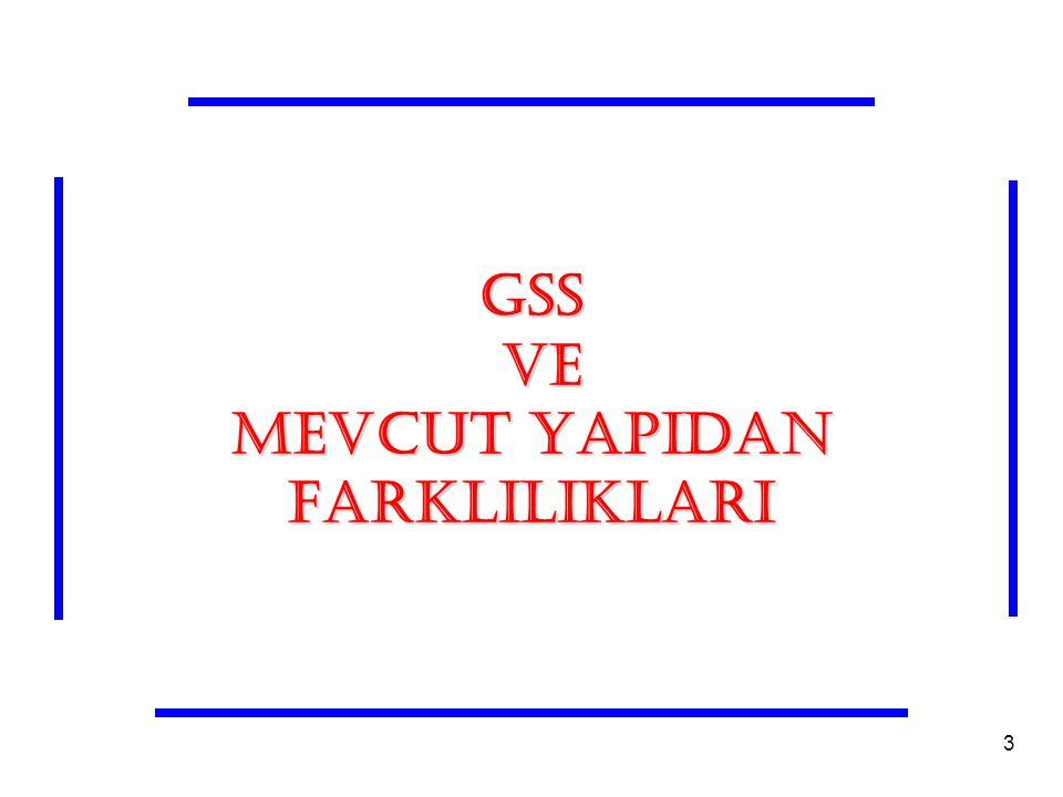 GSS VE MEVCUT YAPIDAN FARKLILIKLARI