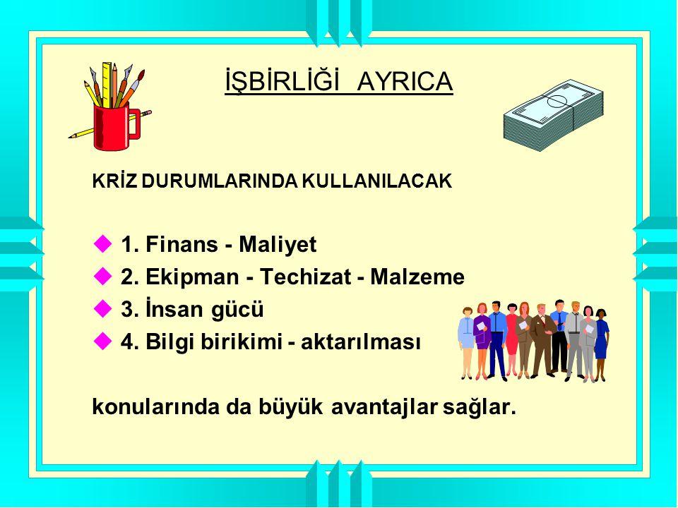 İŞBİRLİĞİ AYRICA 1. Finans - Maliyet 2. Ekipman - Techizat - Malzeme