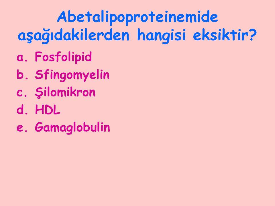 Abetalipoproteinemide aşağıdakilerden hangisi eksiktir