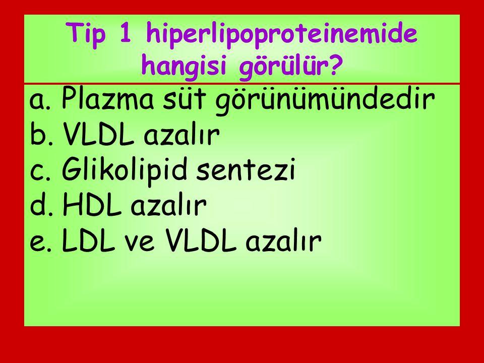 Tip 1 hiperlipoproteinemide hangisi görülür