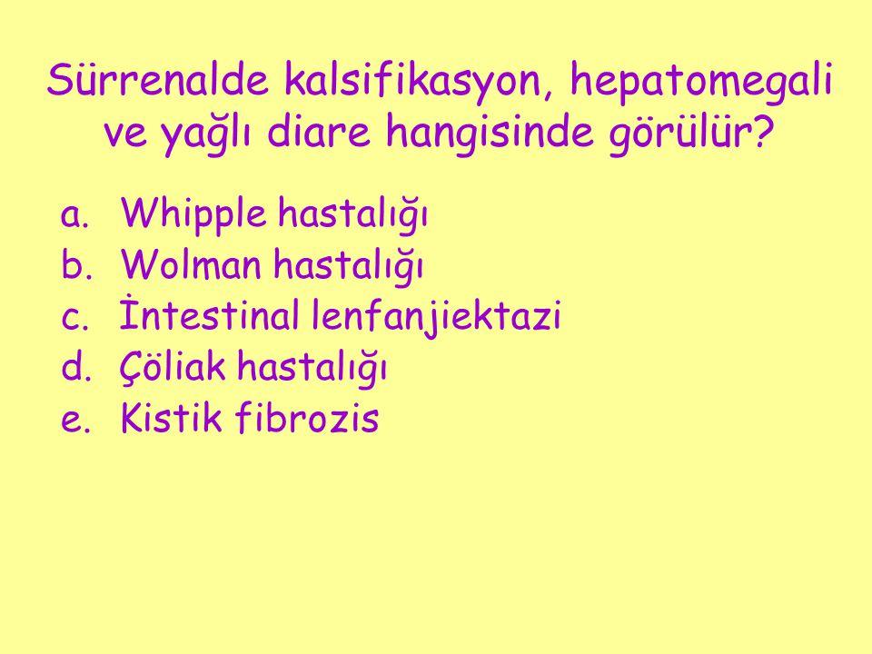 Sürrenalde kalsifikasyon, hepatomegali ve yağlı diare hangisinde görülür