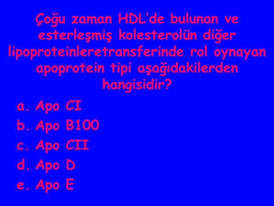 Çoğu zaman HDL'de bulunan ve esterleşmiş kolesterolün diğer lipoproteinleretransferinde rol oynayan apoprotein tipi aşağıdakilerden hangisidir