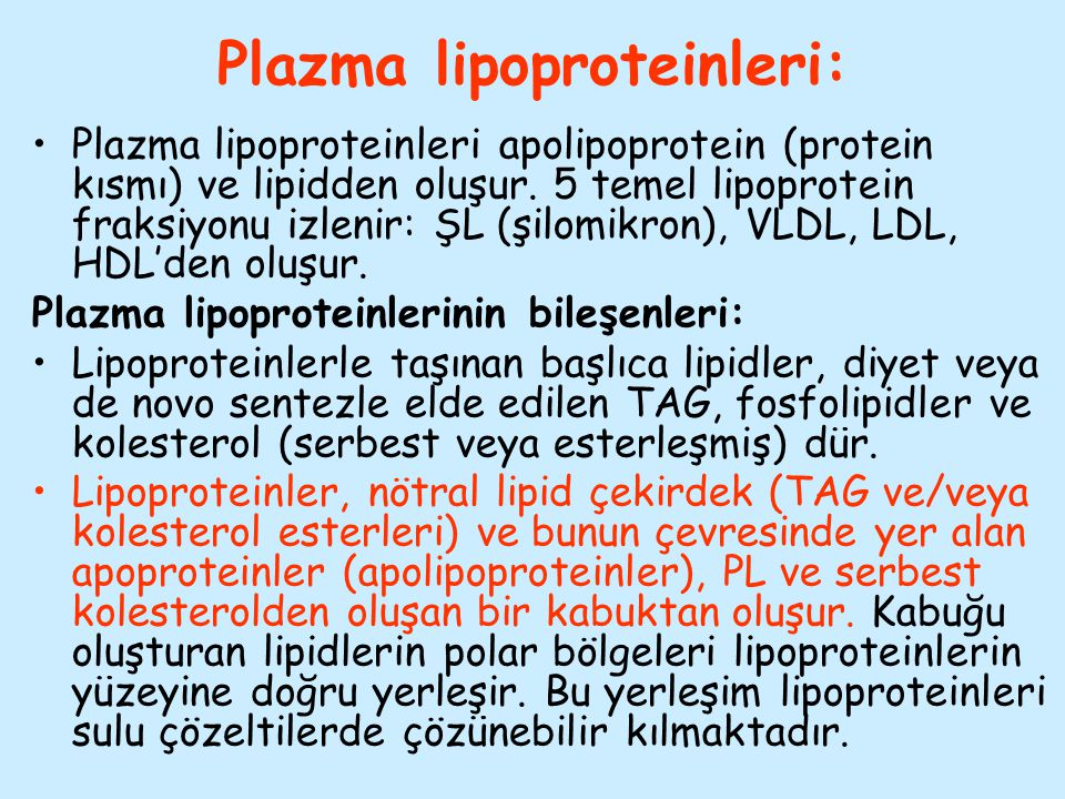 Plazma lipoproteinleri: