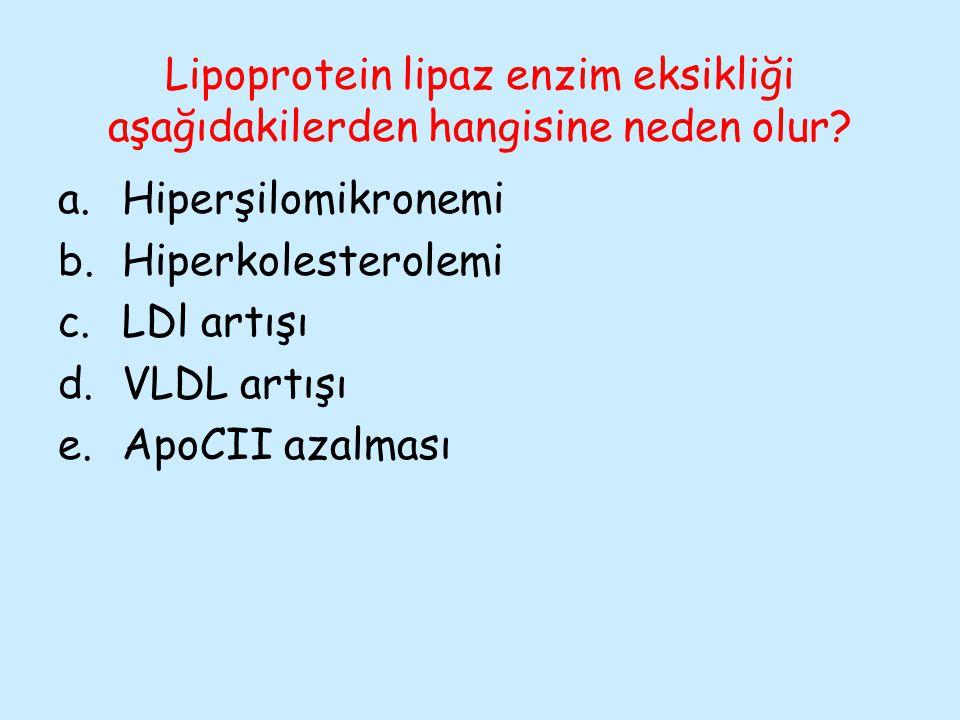 Lipoprotein lipaz enzim eksikliği aşağıdakilerden hangisine neden olur