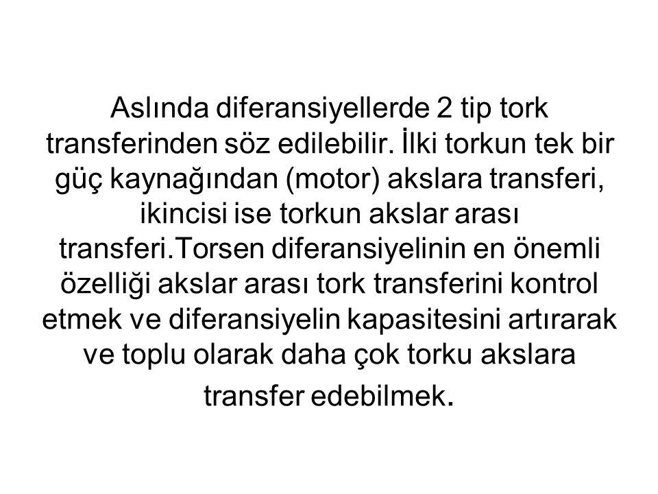 Aslında diferansiyellerde 2 tip tork transferinden söz edilebilir