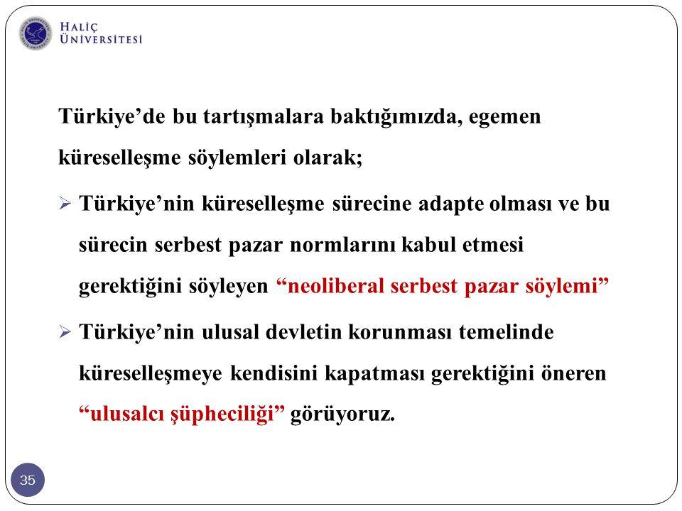 Türkiye'de bu tartışmalara baktığımızda, egemen küreselleşme söylemleri olarak;