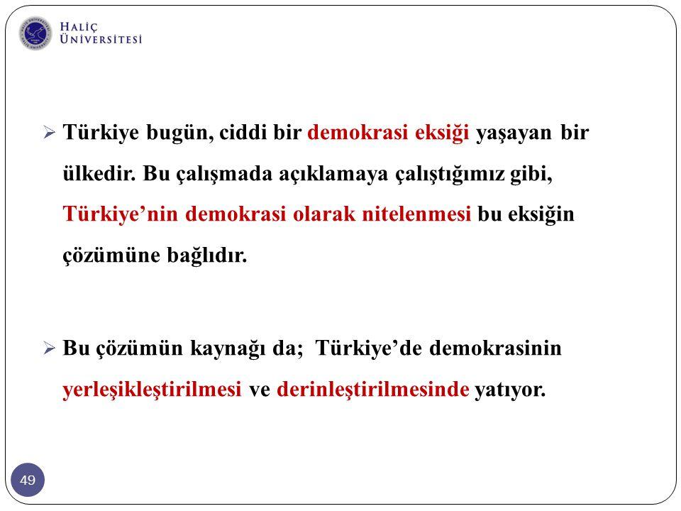 Türkiye bugün, ciddi bir demokrasi eksiği yaşayan bir ülkedir