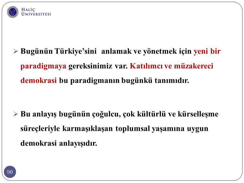 Bugünün Türkiye'sini anlamak ve yönetmek için yeni bir paradigmaya gereksinimiz var. Katılımcı ve müzakereci demokrasi bu paradigmanın bugünkü tanımıdır.