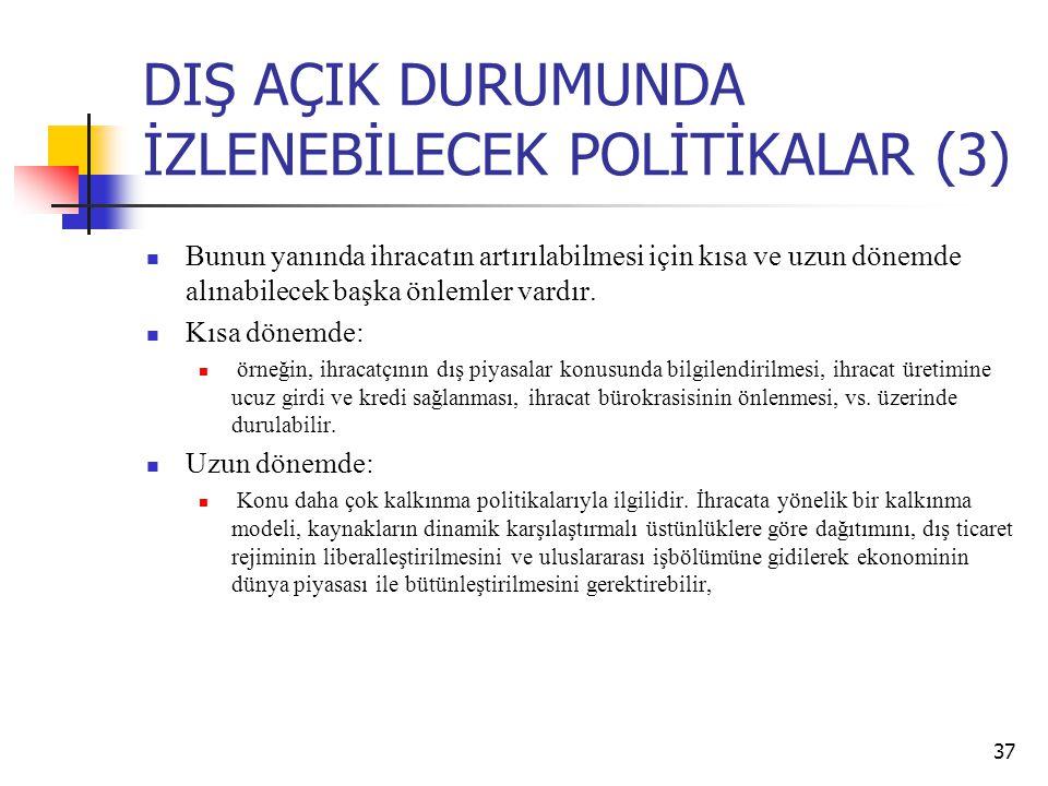 DIŞ AÇIK DURUMUNDA İZLENEBİLECEK POLİTİKALAR (3)