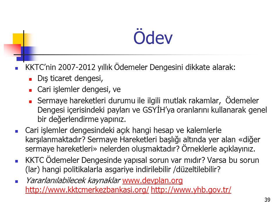 Ödev KKTC'nin 2007-2012 yıllık Ödemeler Dengesini dikkate alarak: