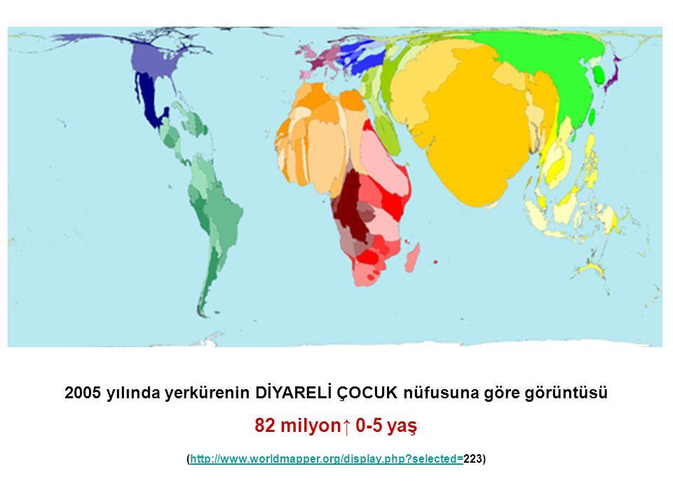 2005 yılında yerkürenin DİYARELİ ÇOCUK nüfusuna göre görüntüsü