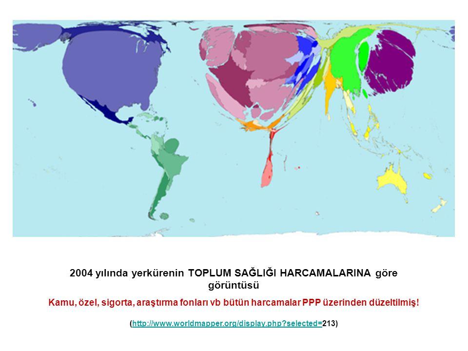 2004 yılında yerkürenin TOPLUM SAĞLIĞI HARCAMALARINA göre görüntüsü