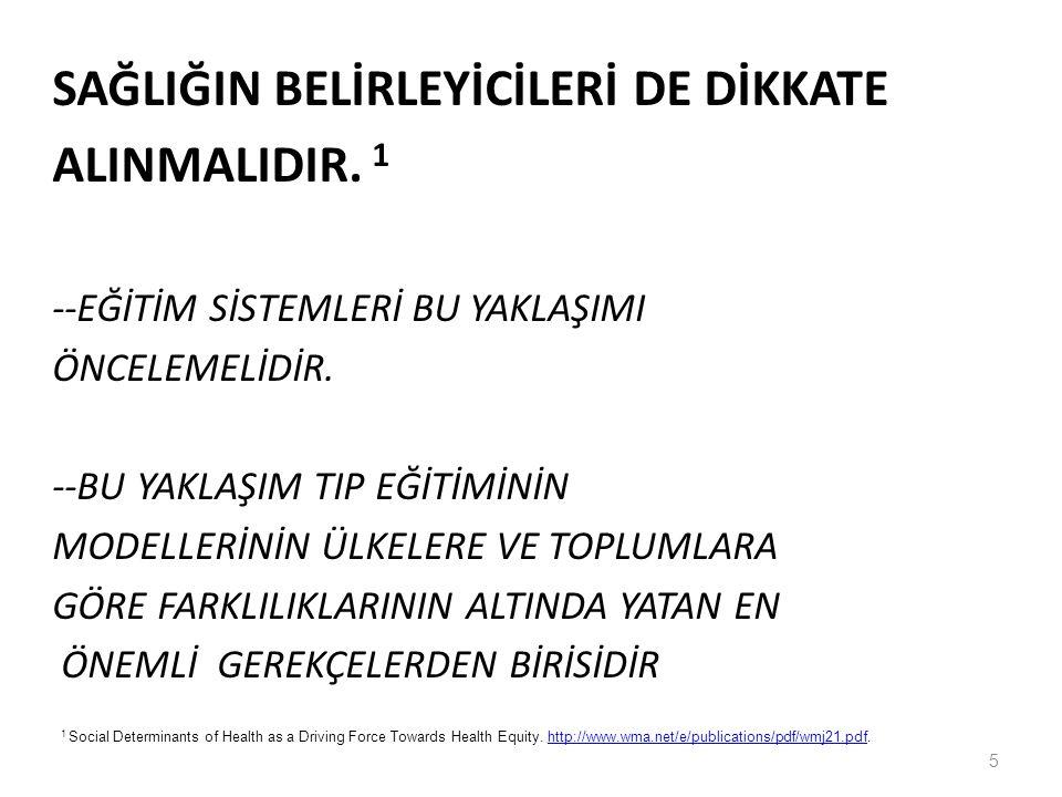 SAĞLIĞIN BELİRLEYİCİLERİ DE DİKKATE ALINMALIDIR. 1