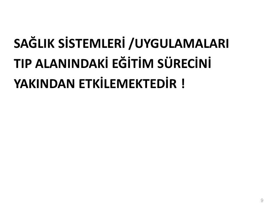 SAĞLIK SİSTEMLERİ /UYGULAMALARI