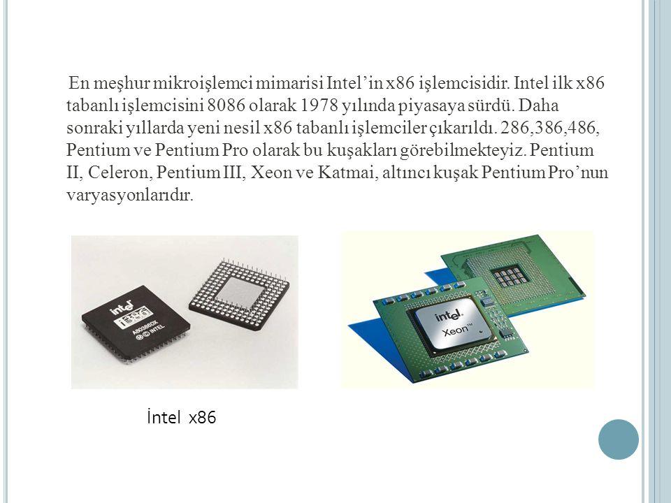 En meşhur mikroişlemci mimarisi Intel'in x86 işlemcisidir