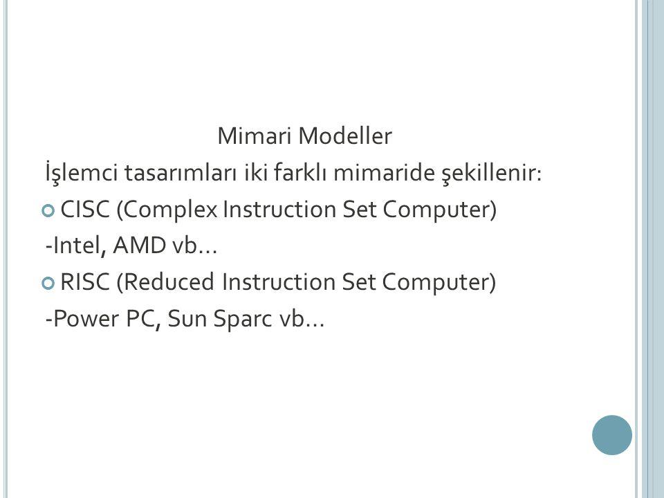 Mimari Modeller İşlemci tasarımları iki farklı mimaride şekillenir: CISC (Complex Instruction Set Computer)