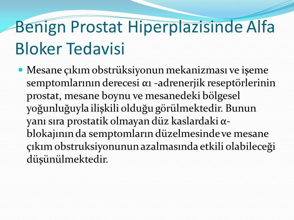 Benign Prostat Hiperplazisinde Alfa Bloker Tedavisi