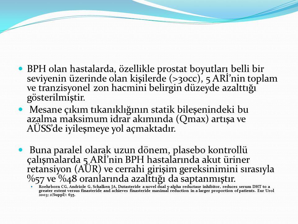 BPH olan hastalarda, özellikle prostat boyutları belli bir seviyenin üzerinde olan kişilerde (>30cc), 5 ARİ'nin toplam ve tranzisyonel zon hacmini belirgin düzeyde azalttığı gösterilmiştir.