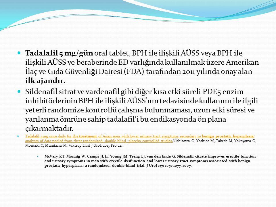 Tadalafil 5 mg/gün oral tablet, BPH ile ilişkili AÜSS veya BPH ile ilişkili AÜSS ve beraberinde ED varlığında kullanılmak üzere Amerikan İlaç ve Gıda Güvenliği Dairesi (FDA) tarafından 2011 yılında onay alan ilk ajandır.