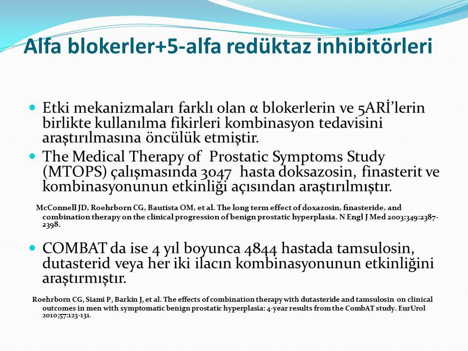 Alfa blokerler+5-alfa redüktaz inhibitörleri