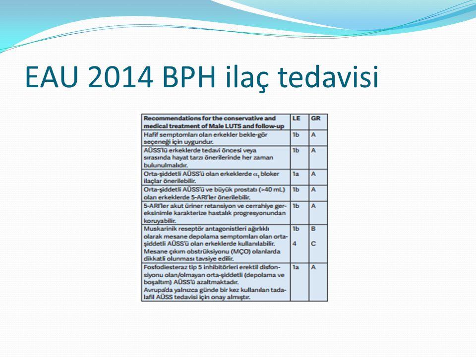 EAU 2014 BPH ilaç tedavisi
