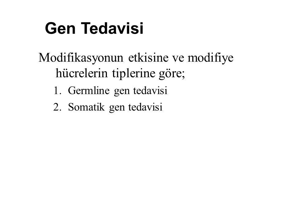 Gen Tedavisi Modifikasyonun etkisine ve modifiye hücrelerin tiplerine göre; Germline gen tedavisi.