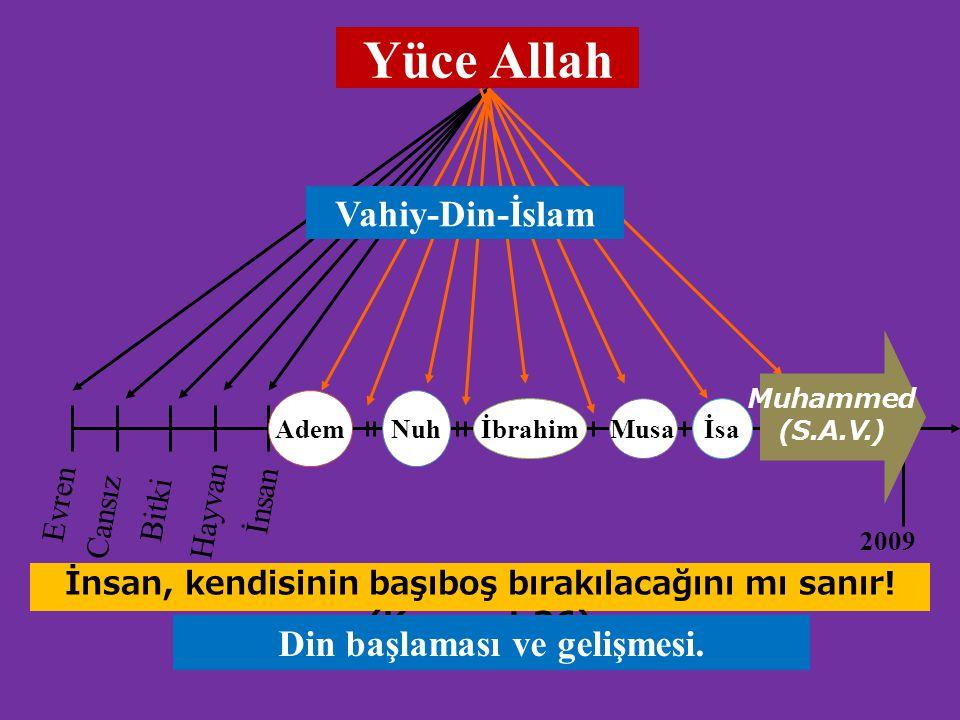 Yüce Allah Vahiy-Din-İslam Din başlaması ve gelişmesi. İnsan Evren