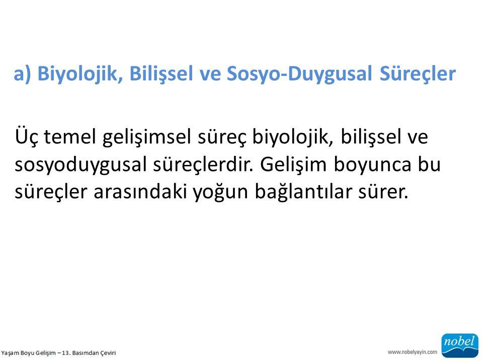a) Biyolojik, Bilişsel ve Sosyo-Duygusal Süreçler