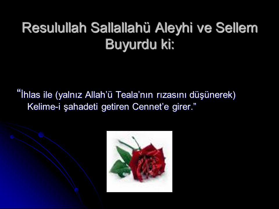 Resulullah Sallallahü Aleyhi ve Sellem Buyurdu ki: