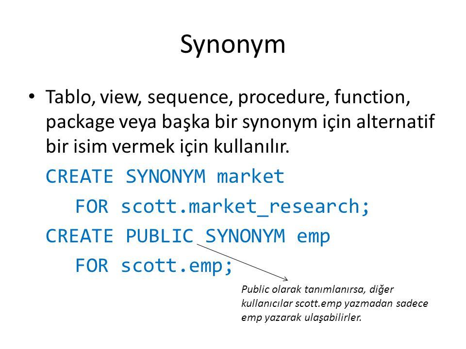 Synonym Tablo, view, sequence, procedure, function, package veya başka bir synonym için alternatif bir isim vermek için kullanılır.
