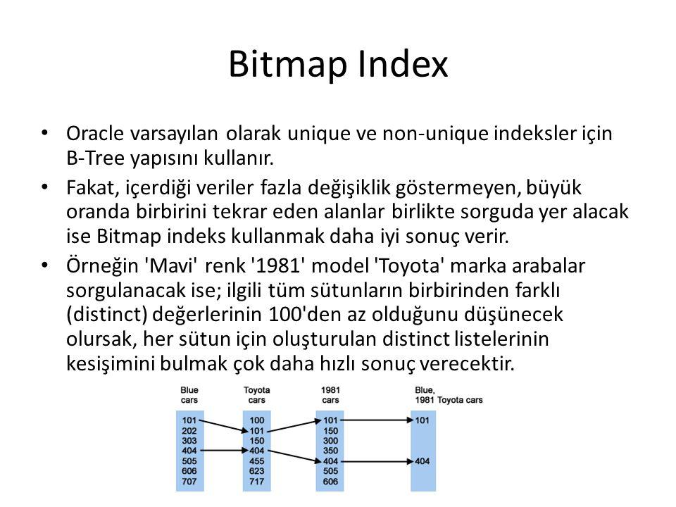 Bitmap Index Oracle varsayılan olarak unique ve non-unique indeksler için B-Tree yapısını kullanır.