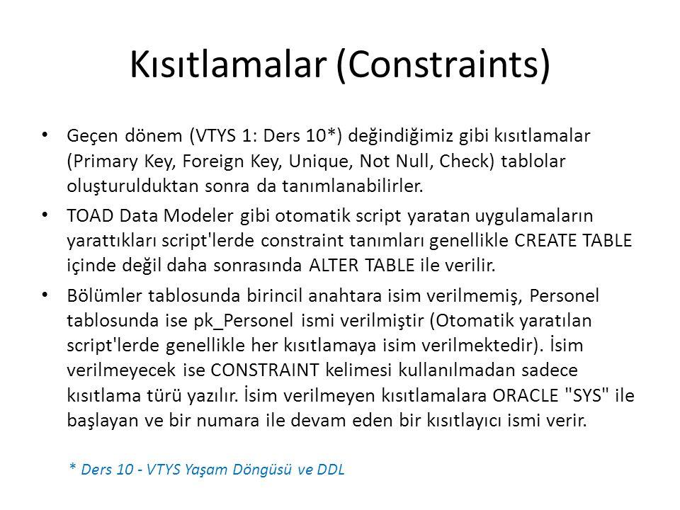 Kısıtlamalar (Constraints)
