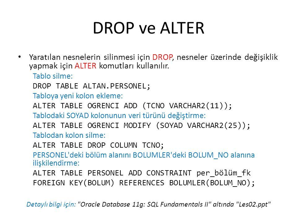 DROP ve ALTER Yaratılan nesnelerin silinmesi için DROP, nesneler üzerinde değişiklik yapmak için ALTER komutları kullanılır.