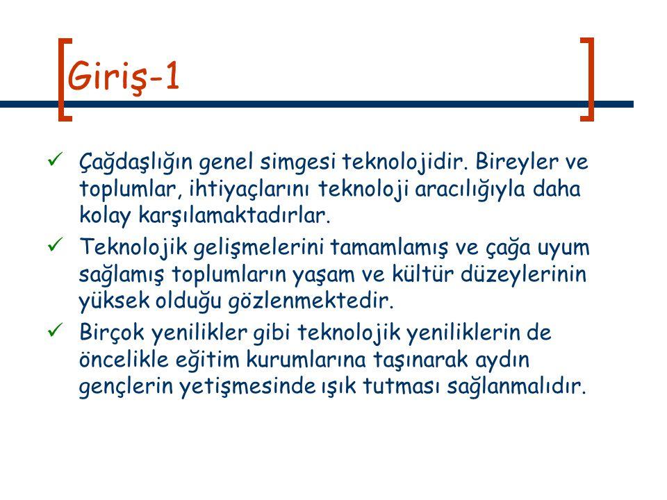 Giriş-1 Çağdaşlığın genel simgesi teknolojidir. Bireyler ve toplumlar, ihtiyaçlarını teknoloji aracılığıyla daha kolay karşılamaktadırlar.