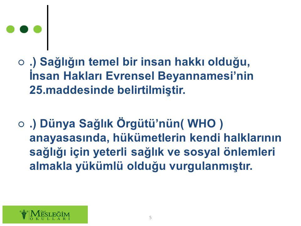.) Sağlığın temel bir insan hakkı olduğu, İnsan Hakları Evrensel Beyannamesi'nin 25.maddesinde belirtilmiştir.