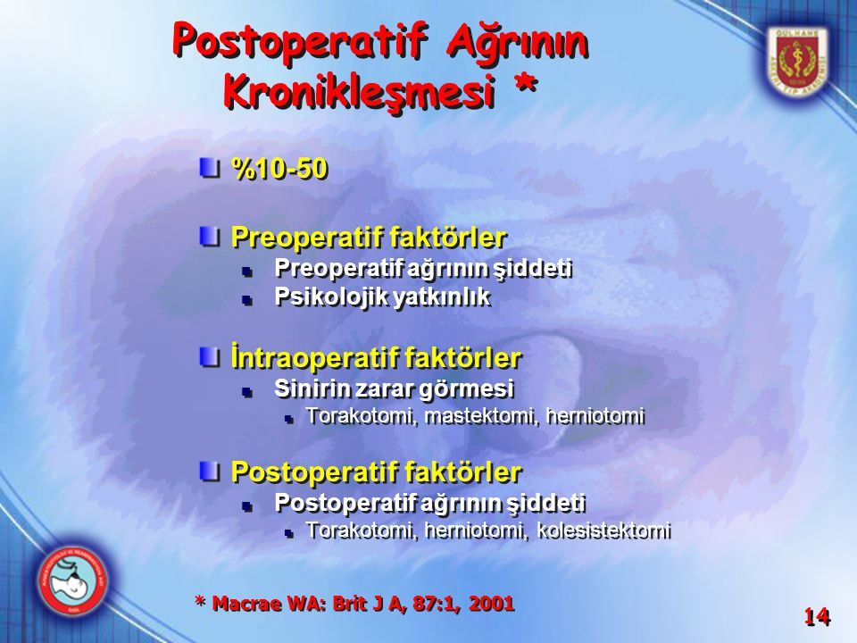 Postoperatif Ağrının Kronikleşmesi *