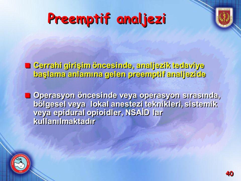 Preemptif analjezi Cerrahi girişim öncesinde, analjezik tedaviye başlama anlamına gelen preemptif analjezide.