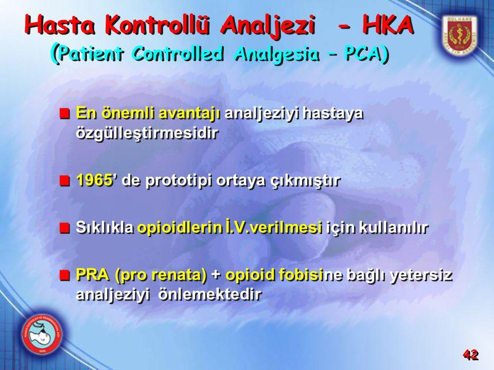 Hasta Kontrollü Analjezi - HKA (Patient Controlled Analgesia – PCA)
