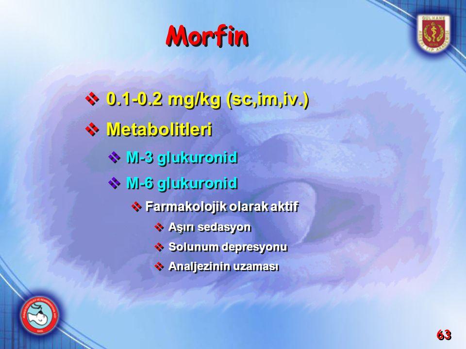 Morfin 0.1-0.2 mg/kg (sc,im,iv.) Metabolitleri M-3 glukuronid