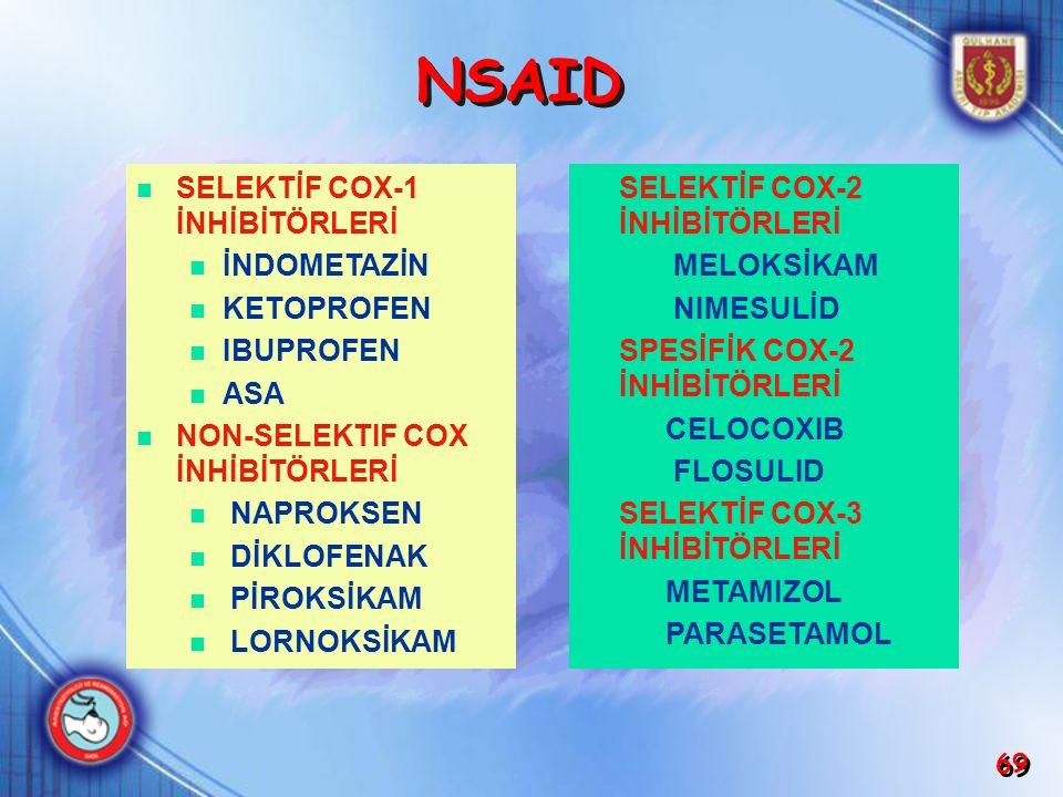 NSAID SELEKTİF COX-1 İNHİBİTÖRLERİ İNDOMETAZİN KETOPROFEN IBUPROFEN