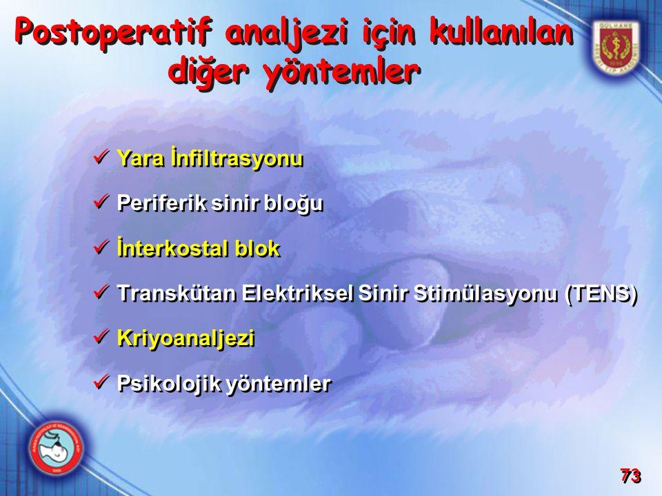 Postoperatif analjezi için kullanılan diğer yöntemler