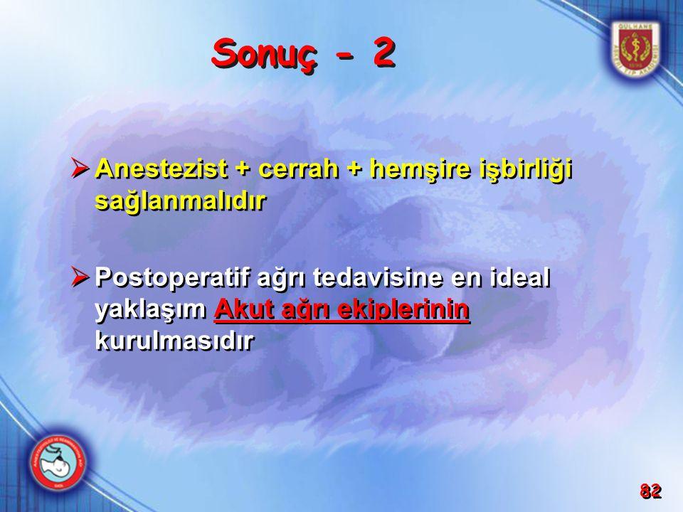 Sonuç - 2 Anestezist + cerrah + hemşire işbirliği sağlanmalıdır
