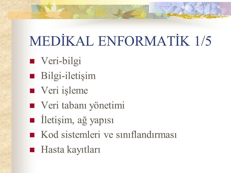 MEDİKAL ENFORMATİK 1/5 Veri-bilgi Bilgi-iletişim Veri işleme