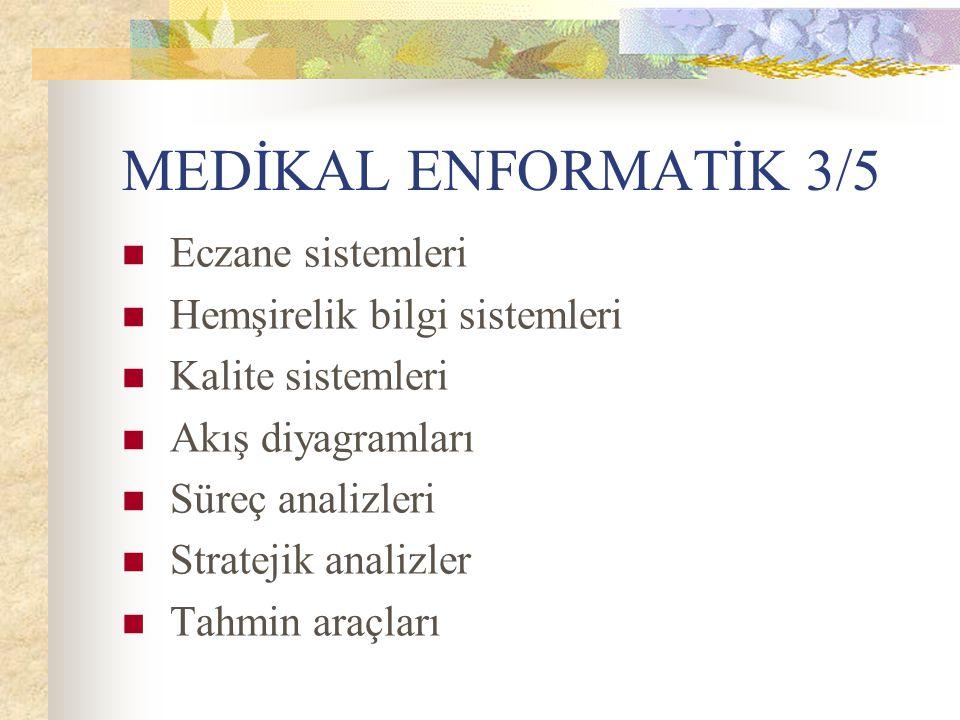MEDİKAL ENFORMATİK 3/5 Eczane sistemleri Hemşirelik bilgi sistemleri