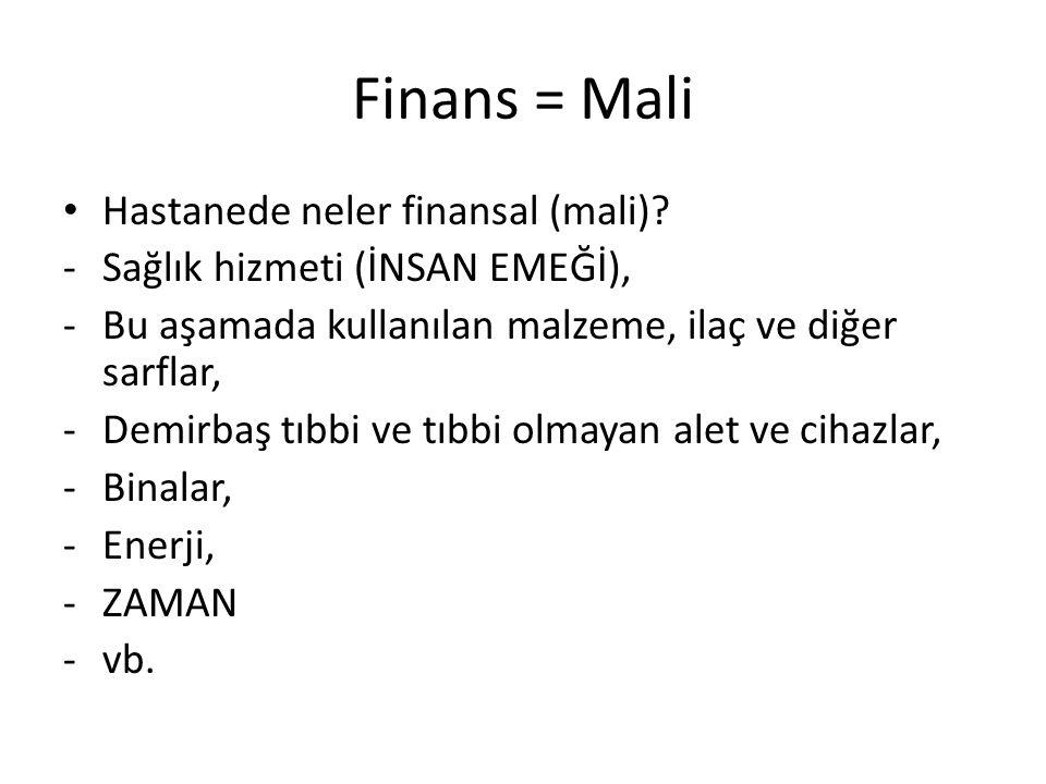 Finans = Mali Hastanede neler finansal (mali)