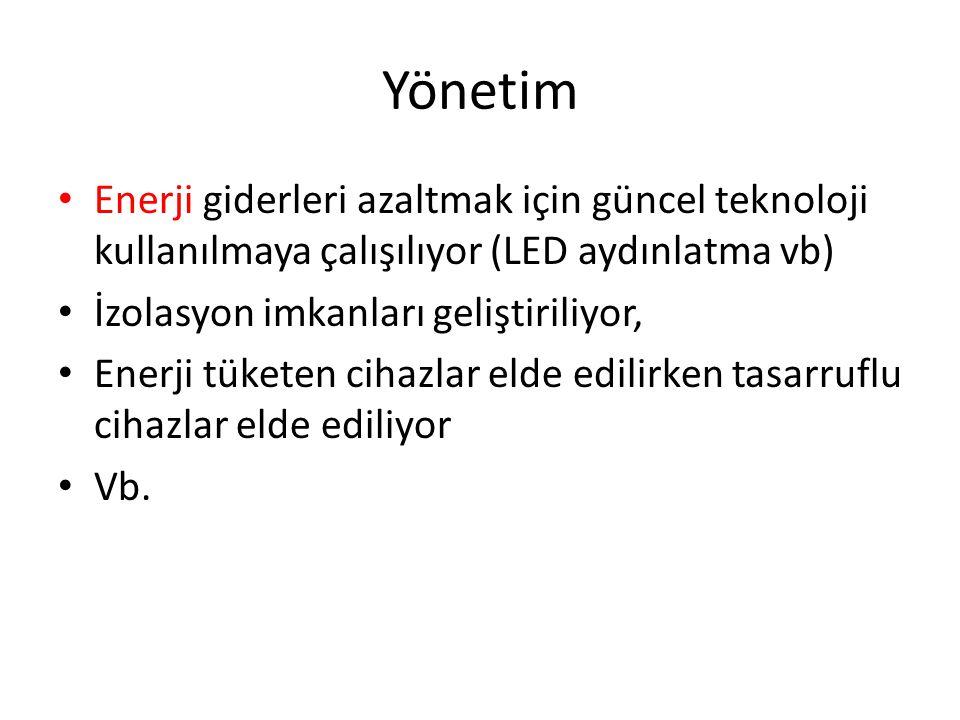 Yönetim Enerji giderleri azaltmak için güncel teknoloji kullanılmaya çalışılıyor (LED aydınlatma vb)