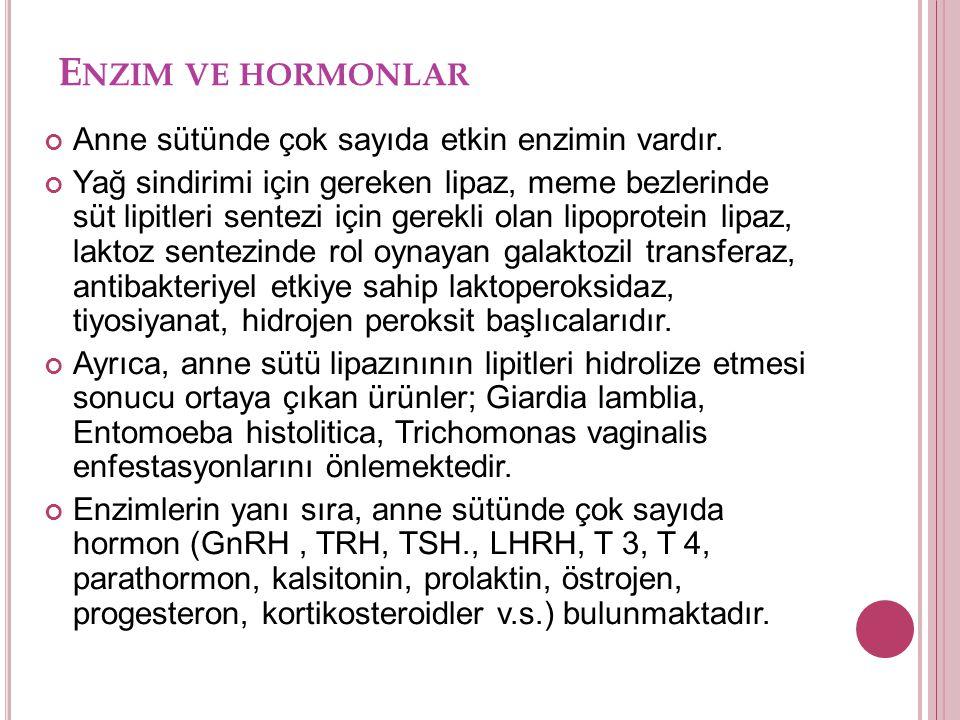 Enzim ve hormonlar Anne sütünde çok sayıda etkin enzimin vardır.