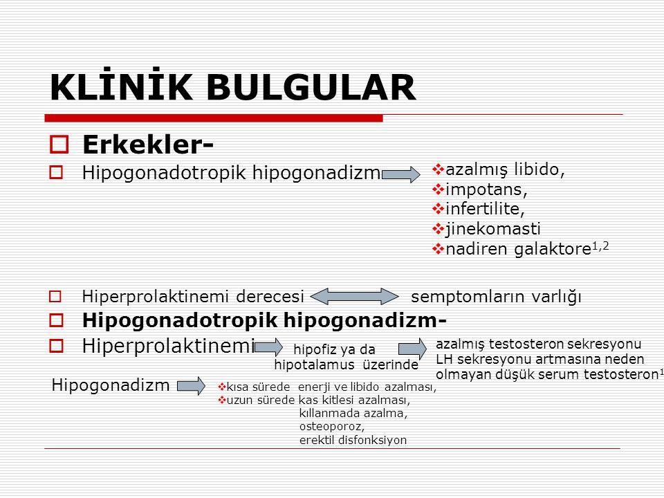 KLİNİK BULGULAR Erkekler- Hipogonadotropik hipogonadizm-