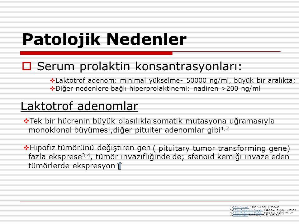 Patolojik Nedenler Serum prolaktin konsantrasyonları:
